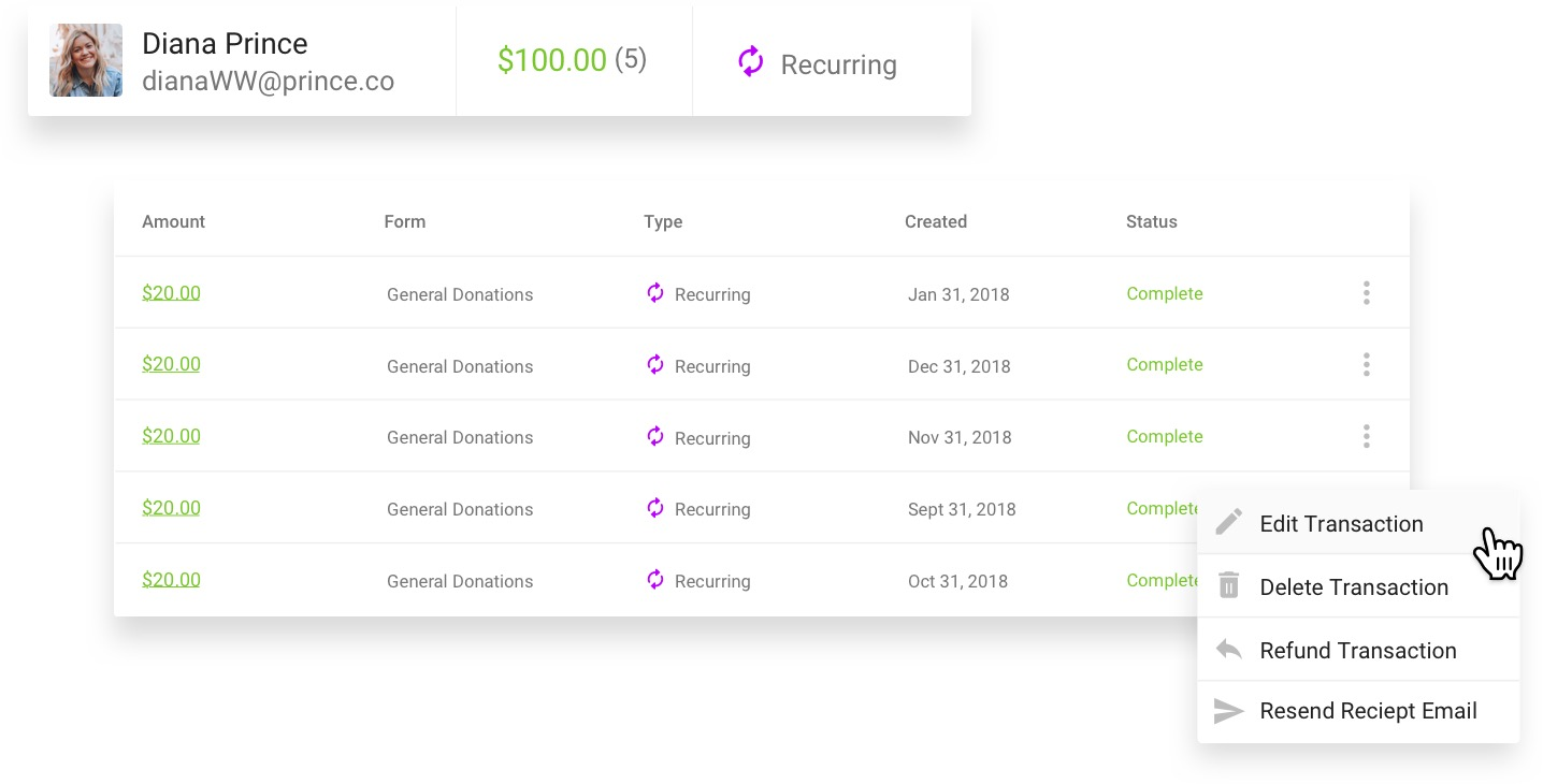 Screenshot of a supporter profile within Funraise's CRM, detailing all donations.