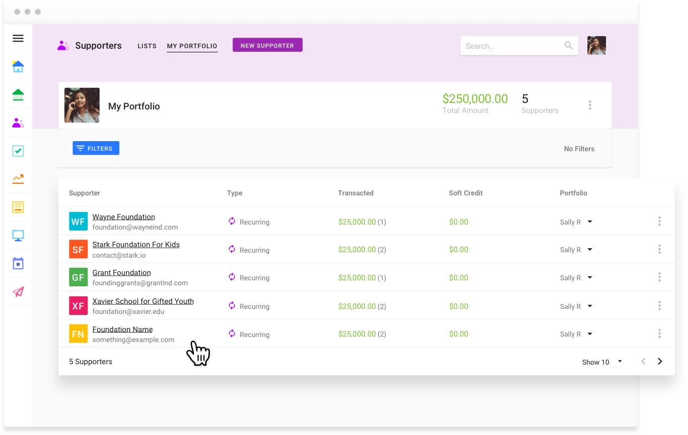Screenshot of Funraise's Supporter management screen.