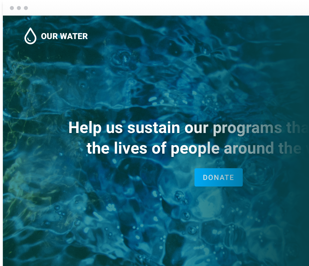 Screenshot of a fundraising website where the background is teal water overlaid with white text and a blue donate button.