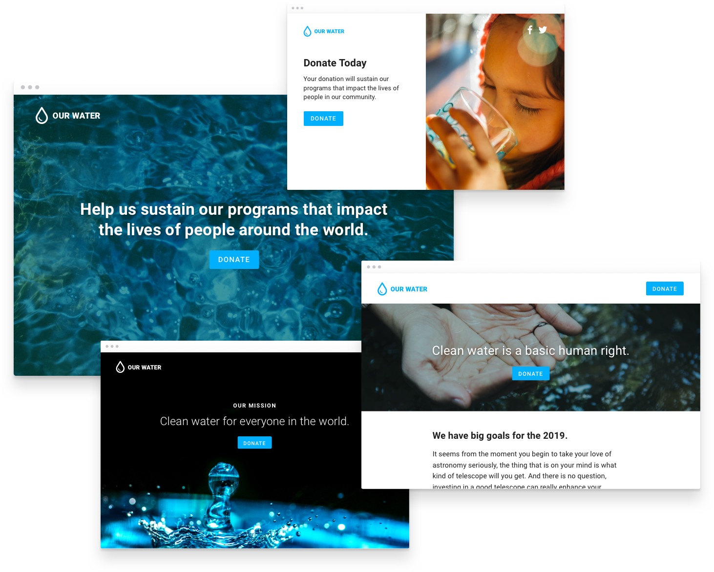 Examples of four different fundraising pages for one fictional nonprofit named Our Water.
