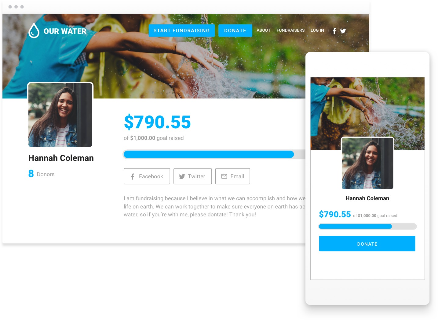 Screenshot of a peer-to-peer fundraising page. Inset on the right is the same page on a cell phone.