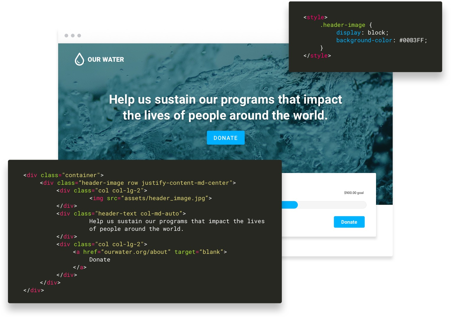 Fictional nonprofit Our Water fundraising website with overlaid dark-mode developer code.