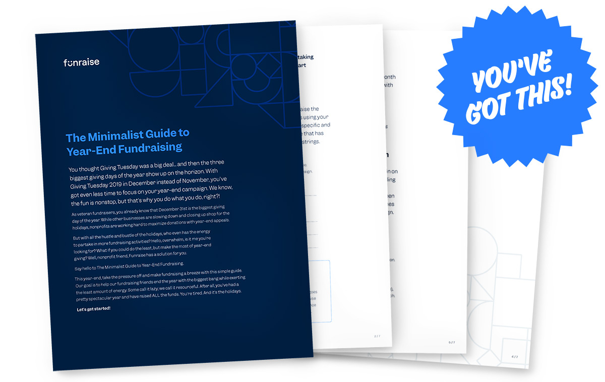 """Pages from the minimalist guie to year-end fundraising with a large sticker reading """"You've got this!"""""""