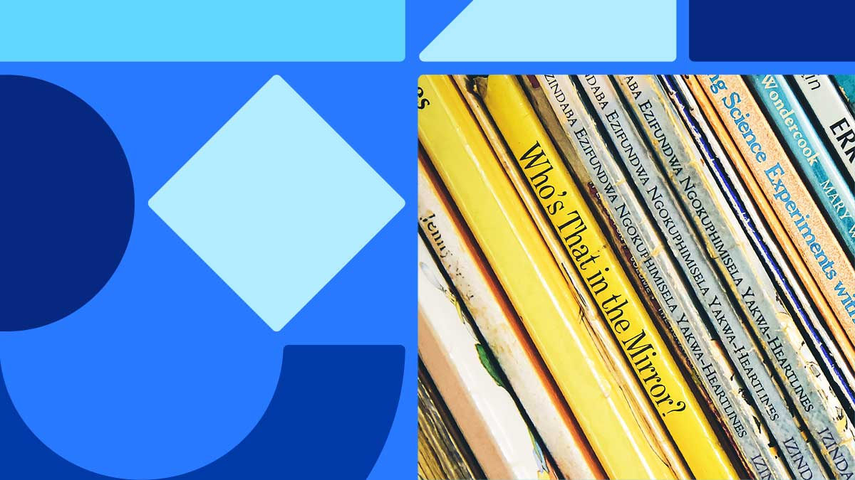 "Photo of books stacked vertically. The books are pretty thin with mostly yellow covers, and the middle book is named ""Who's That in the Mirror?"" The photo is on the right side of the image, with the image set on a blue background, surrounded by blue shapes."