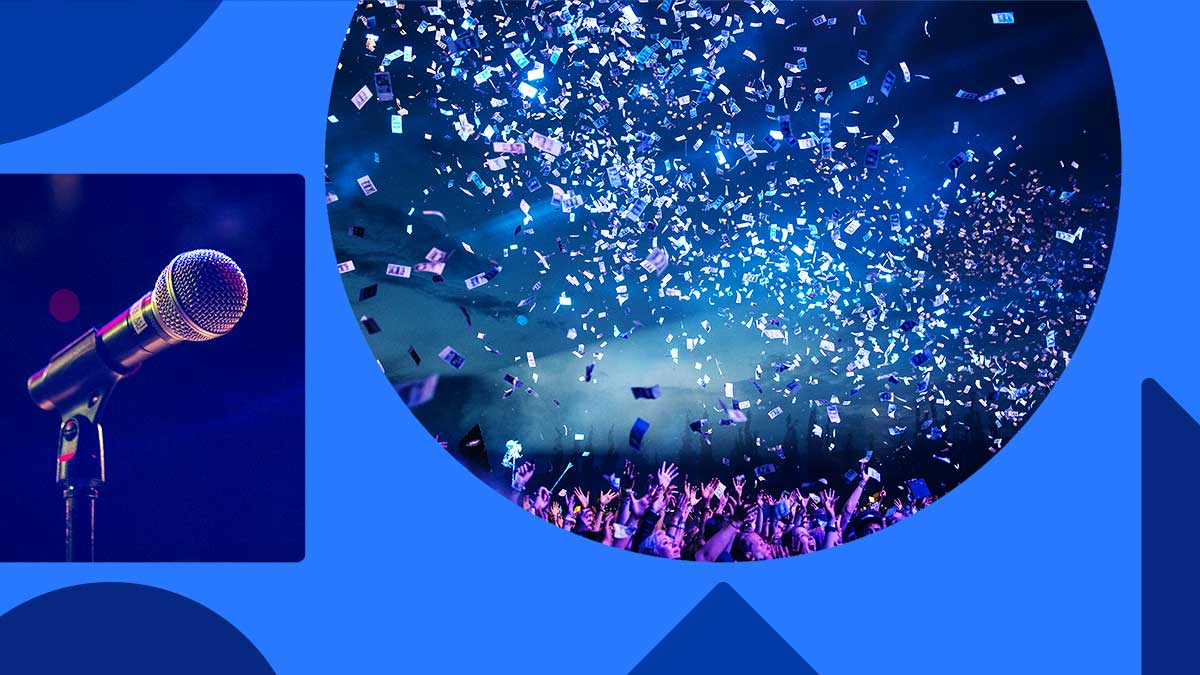 Image with photos of confetti and a microphone in shapes on a blue background. The confetti looks like money being blown over a crowd in a nightclub with blue and pink lighting.