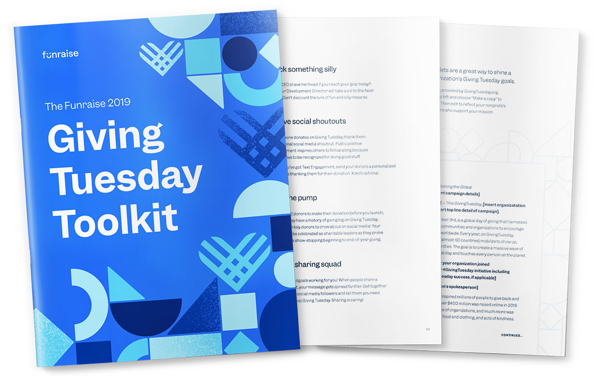 Page from the Funraise 2019 Giving Tuesday Toolkit for nonprofits