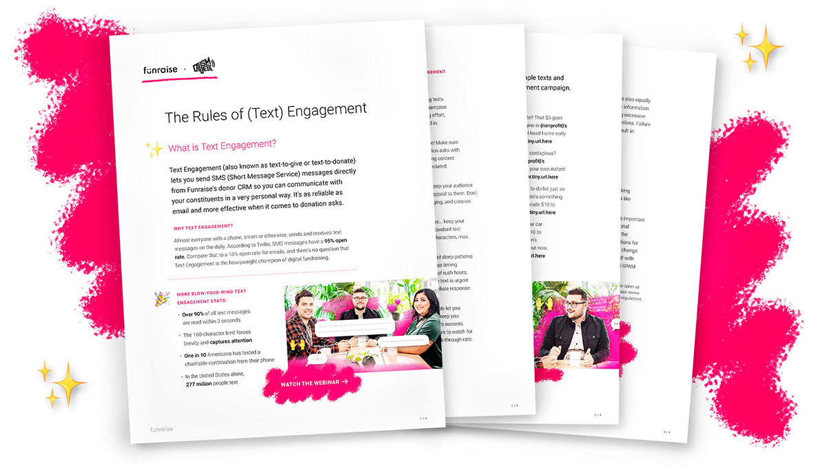 Pages from The Rules of (Text) Engagement spread out with a pink background and sparkly emojis floating nearby