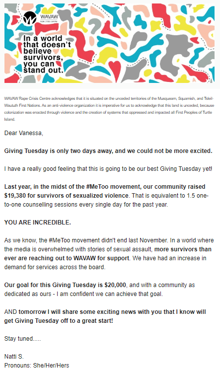 "Screenshot of an email asking recipients to donate to WAVAW on Giving Tuesday. The header is a digital drawing of multi-colored abstract shapes on a white background with words in black ""In a world that doesn't believe survivors, you can stand out."""