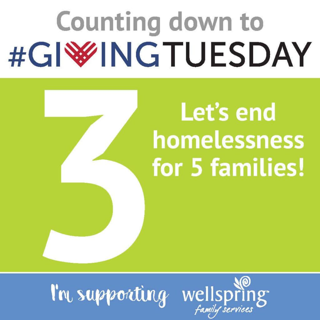 "Giving Tuesday social graphic. On a background with three horizontal color stripes of white, lime green, and light blue, showing words in gray, blue, black, and white ""Counting down to #GIVINGTUESDAY 3 Let's end homelessness for 5 families! I'm supporting wellspring family services"""