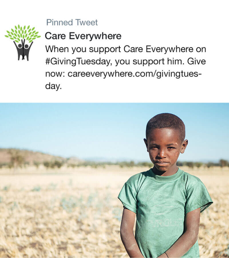 Image of a tweet asking people to donate to Care Everywhere on Giving Tuesday. Paired with an image of a Black child wearing a green shirt in a field.