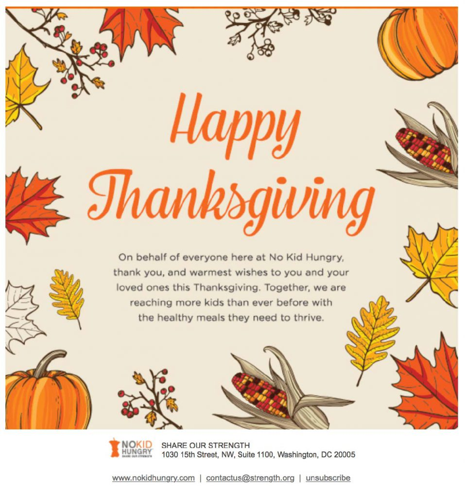 "Image of a social media graphic from No Kid Hungry with the words ""Happy Thanksgiving"", thanking their donors. The words are orange and black on an off-white background with a border of orange and yellow leaves, pumpkins, berries, and corn."
