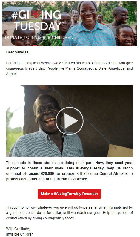 Screenshot of an email from Invisible Children asking recipients to donate on Giving Tuesday. The email has a white background with black text and two images of African children and adults smiling.