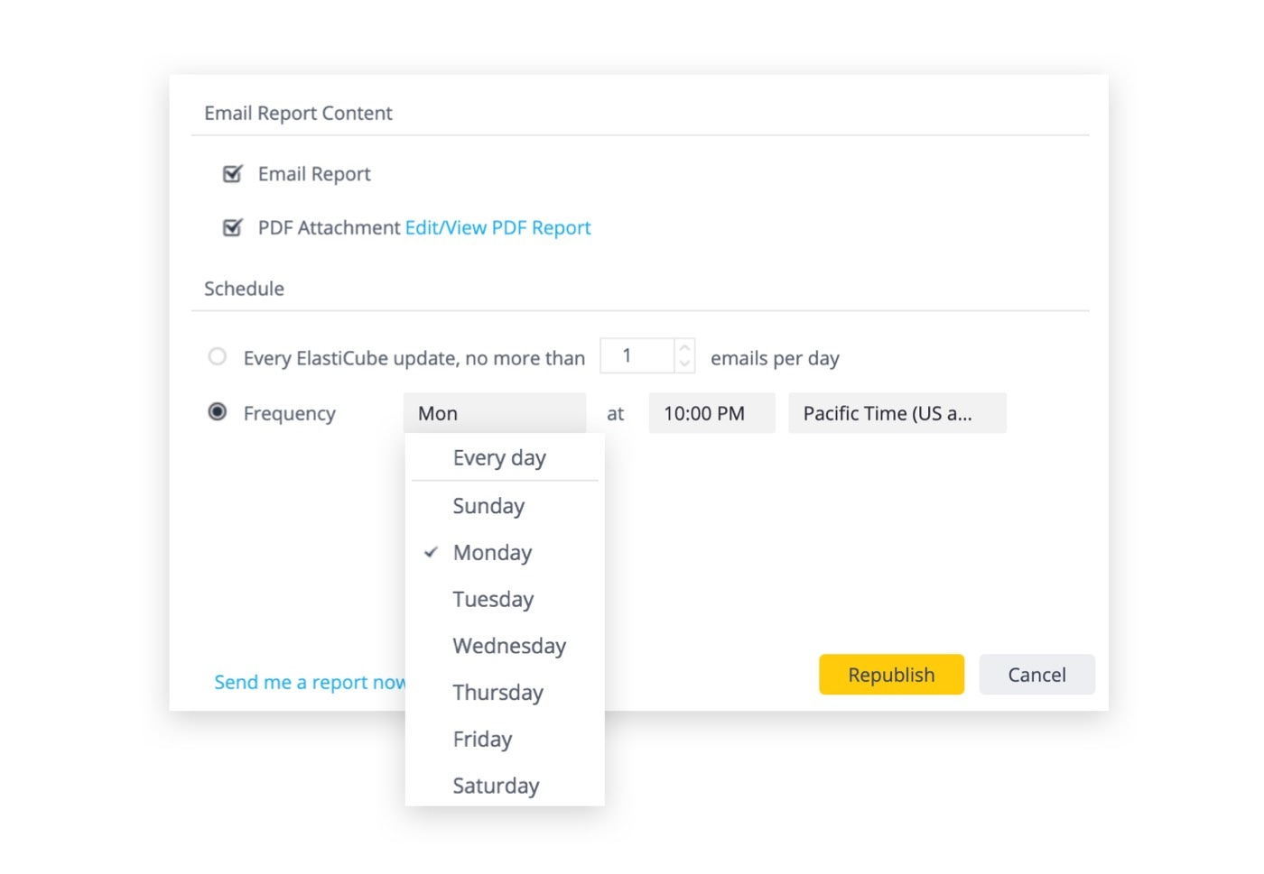 A pop-up window that shows settings for automatically sending report emails, including email report content and frequency of scheduling.
