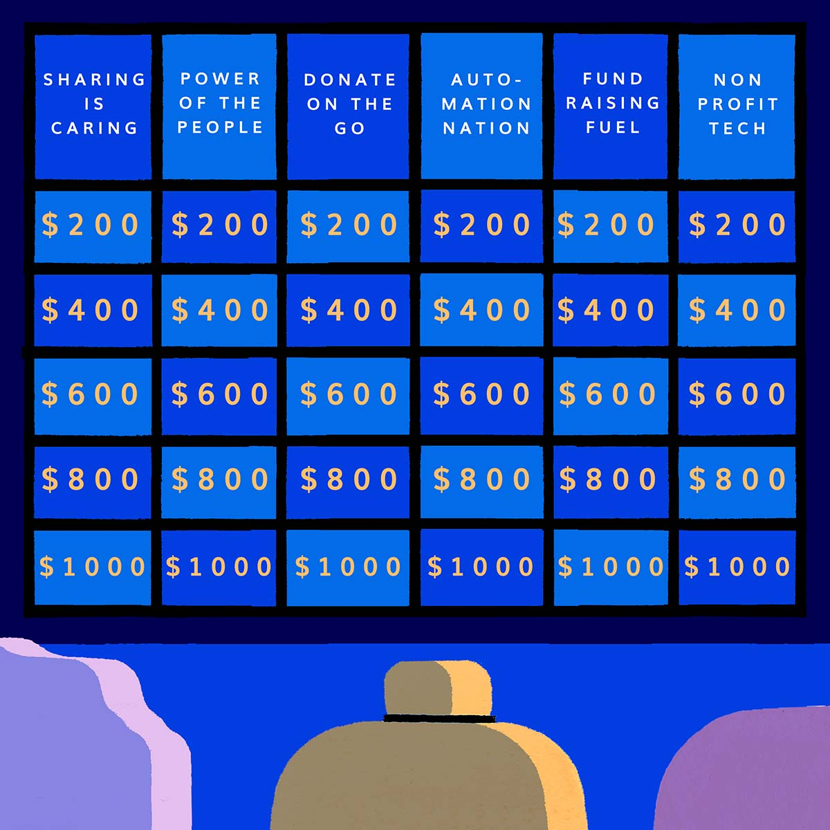 A hand-illustrated image of a blue Jeopardy grid of questions faces three contestants. We see the backs of their heads. Art by Sophie Cunningham.