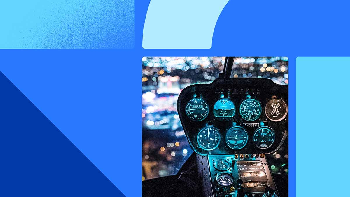 Photo of a dashboard with blue lights. The photo is placed on a blue background with blue and teal shapes.