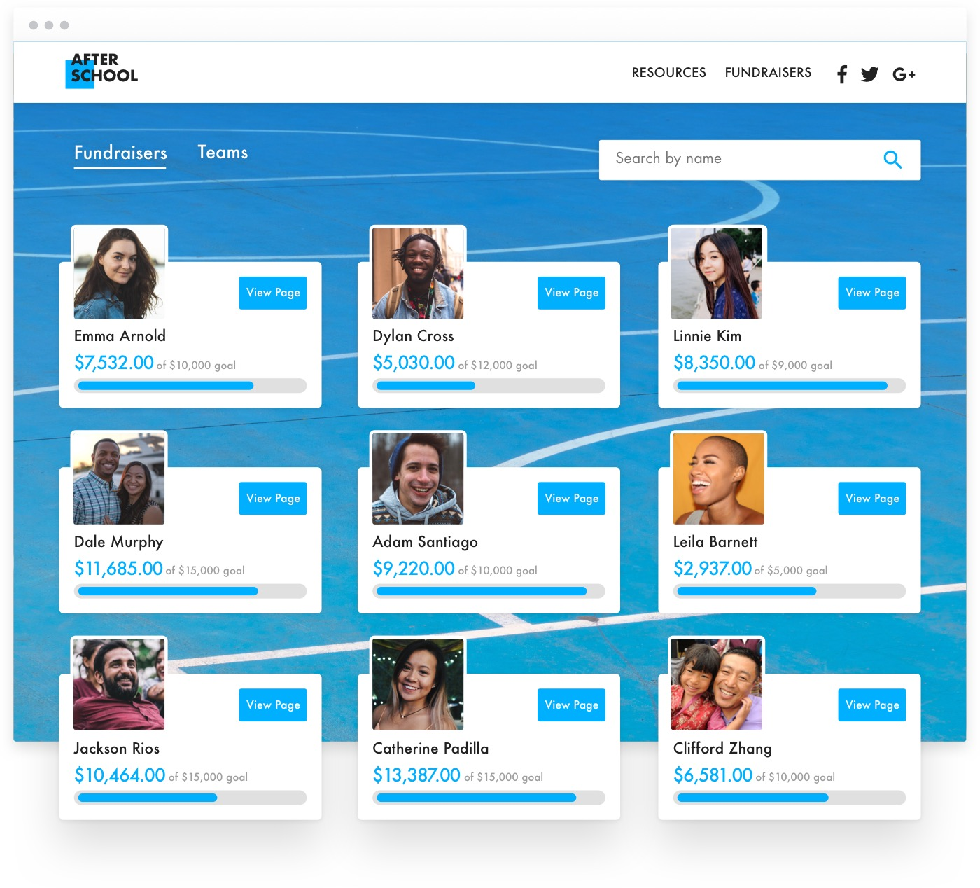 Screenshot showing a 3x3 grid of social fundraisers, each box featuring a profile headshot, a donation progress bar, and a blue donation button. All on a blue background.