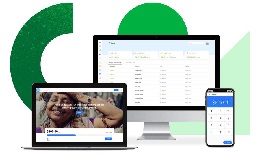 Funraise nonprofit fundraising software on a desktop, laptop, and smart phone.