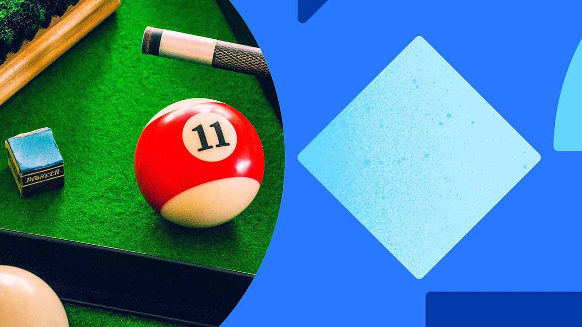 A photo of a billards ball (11, red stripe), a pool cue, and blue cue chalk sitting on a kelly green felt table. The photo is laid on a blue background with blue shapes.