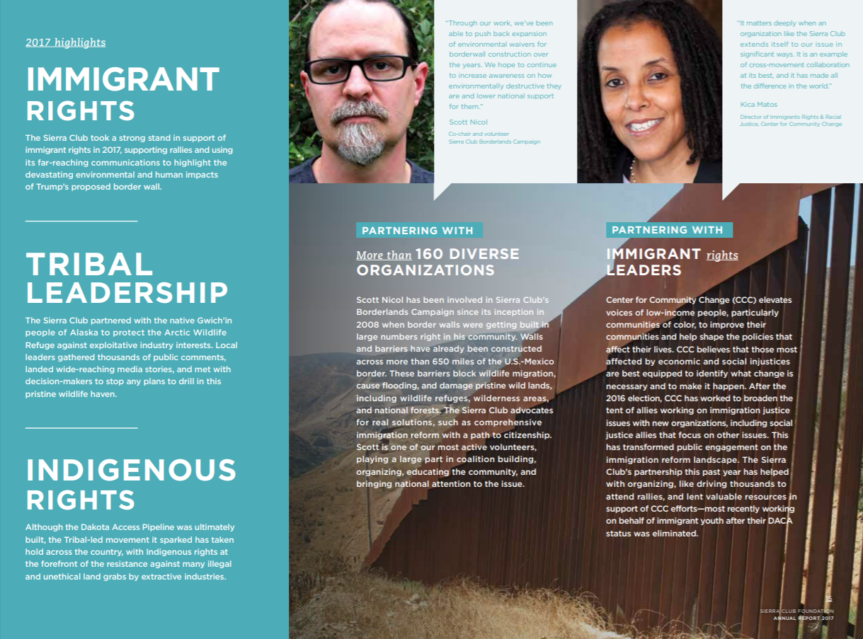 A page from the Sierra Club Foundation annual report, featuring quotes and pictures of volunteers and supporters.