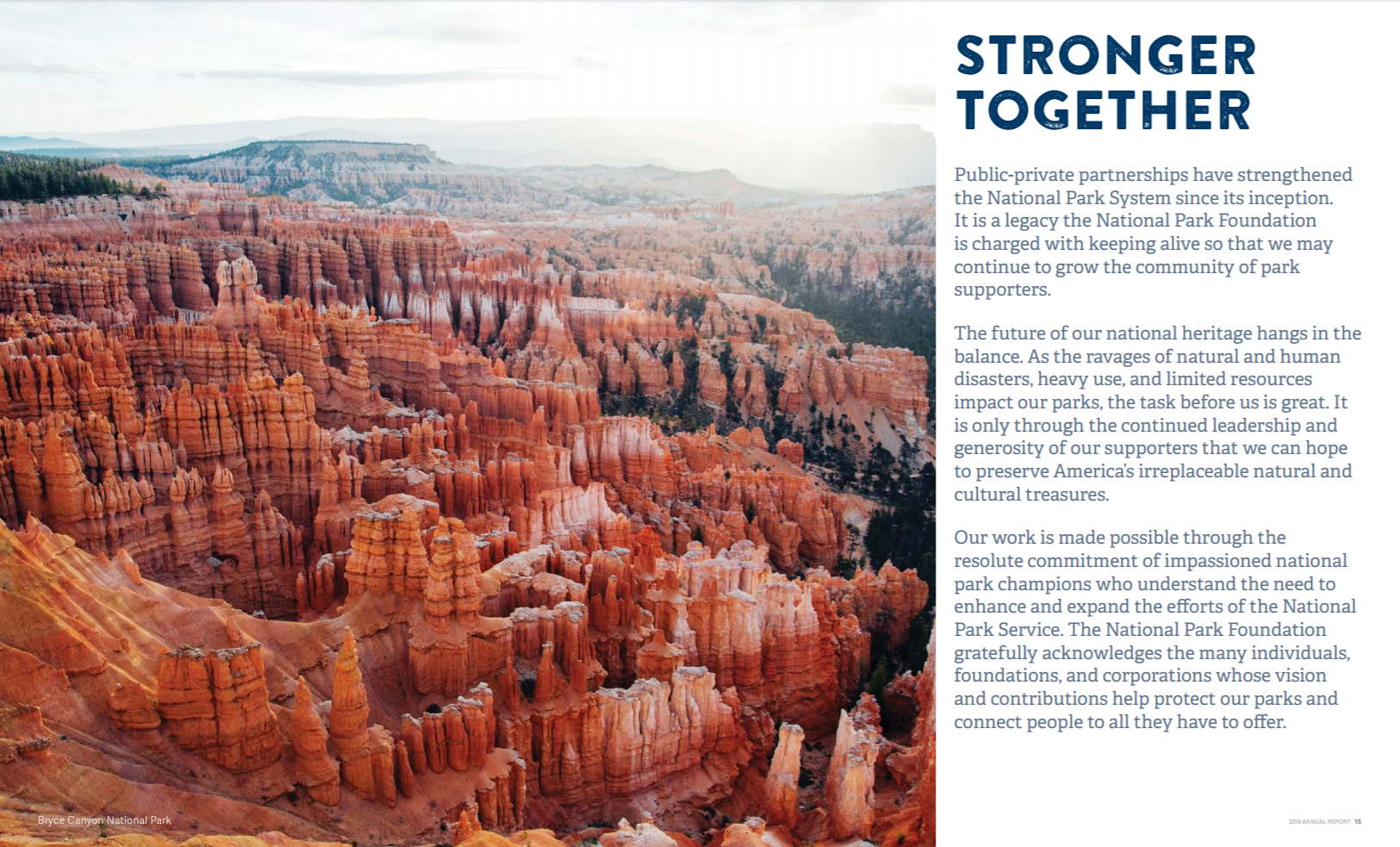 "A page of the National Parks Foundation's annual report, with the headline ""Stronger Together"" and a photo of Bryce Canyon National Park."