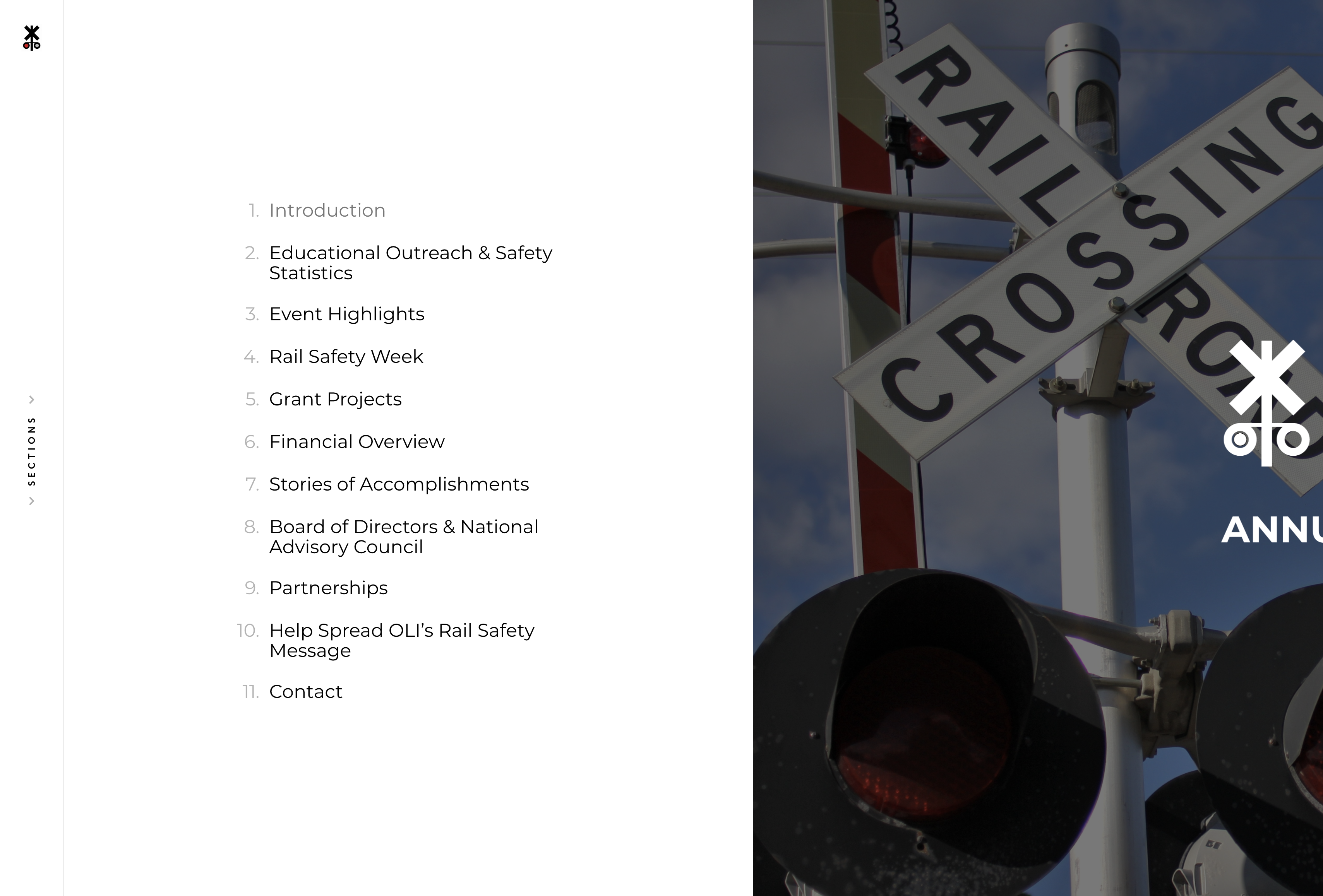 Screenshot of the digital menu in Operation Lifesaver, Inc.'s annual report. The left side is a table of content in black text on white and the right side is a picture of a railroad crossing sign.