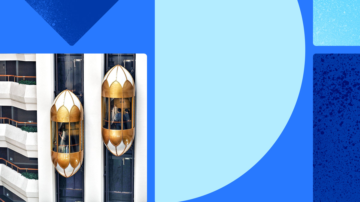 Photo of two gold-and-white elevators in motion. Photo is on a blue background with blue shapes.