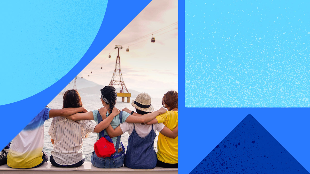 Photo of the back of 5 people sitting with arms around one another. These people have a young, feminine look from the back, and they're sitting, facing the water and a lifted cable car transport. Photo is on a blue background with blue shapes.