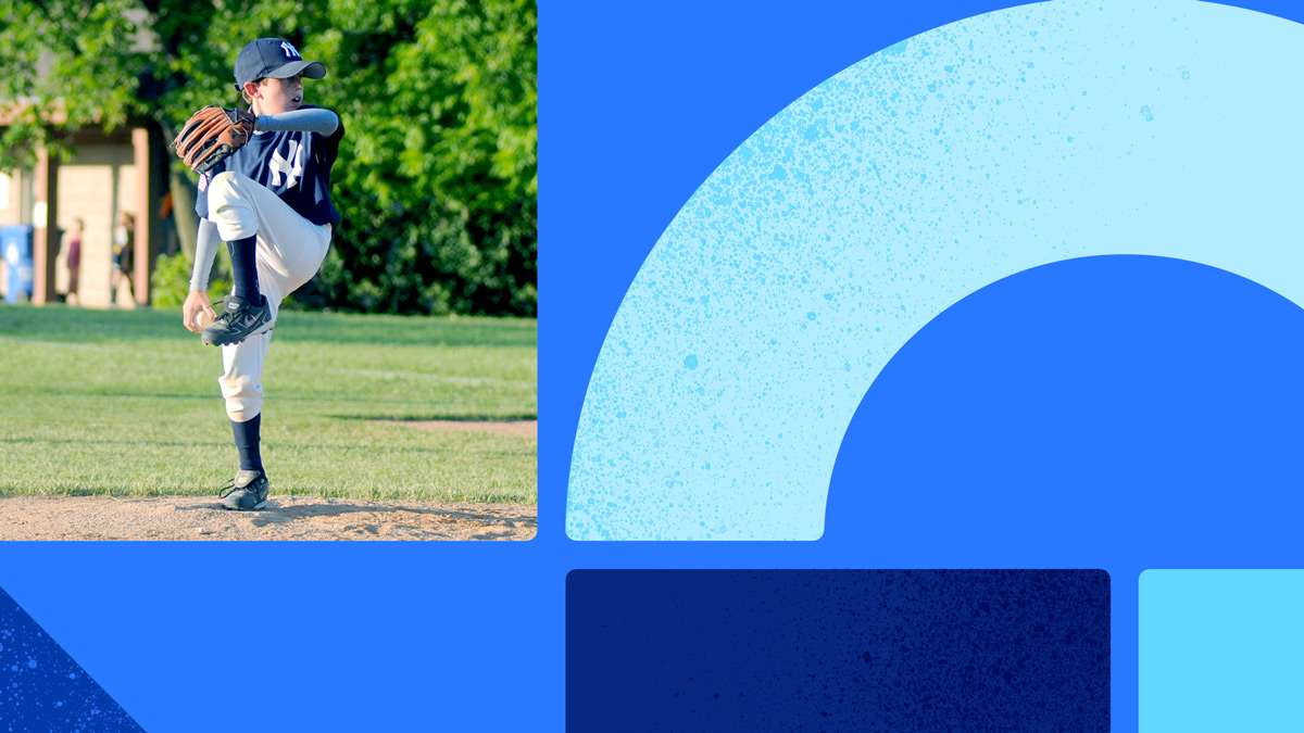 Photo of a young baseball pitcher throwing the ball on a sunny day. Photo is on a blue background with blue shapes.