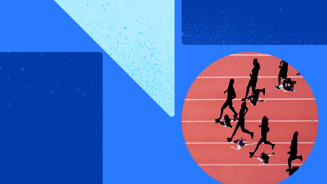 Photo of runners on a track. Photo is on a blue background with blue shapes.