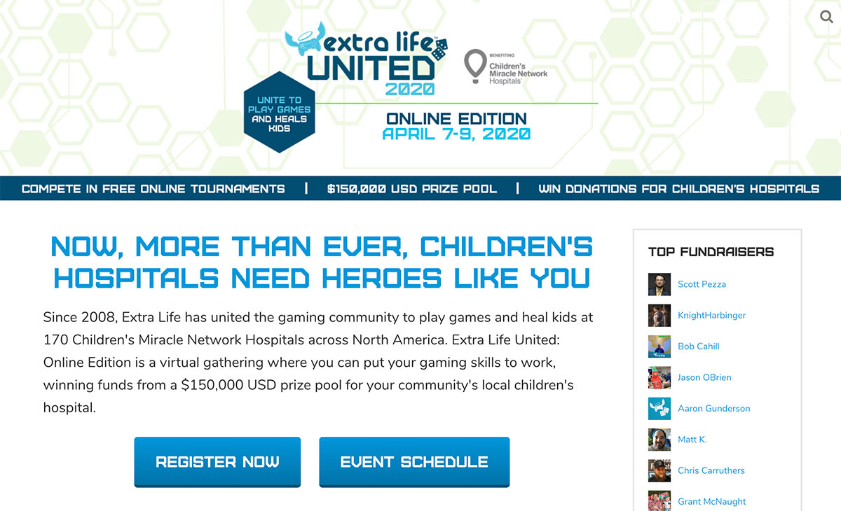 Extra Life United 2020 Online Edition campaign site