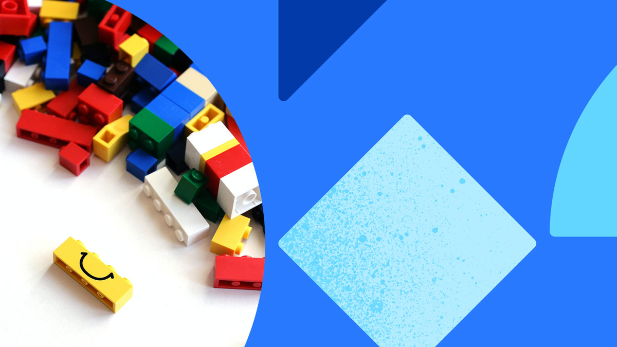 Photo of multi-colored legos. Photo is on a blue background with blue shapes.