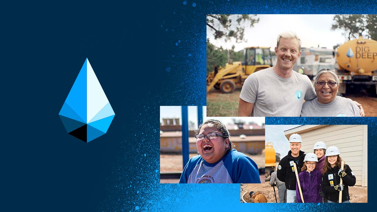 Photos of the DIGDEEP team and their Navajo clients hugging and laughing. The photos are laid on a blue-and-black background on the right side. The left side features the DIGDEEP logo, an illustrated faceted water droplet.