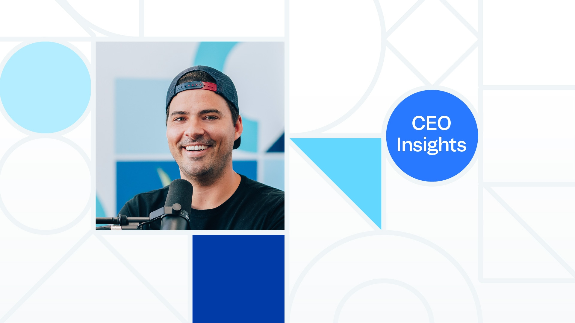 "A grid of shapes, a portrait photo of Justin Wheeler, and the words ""CEO Chat""."