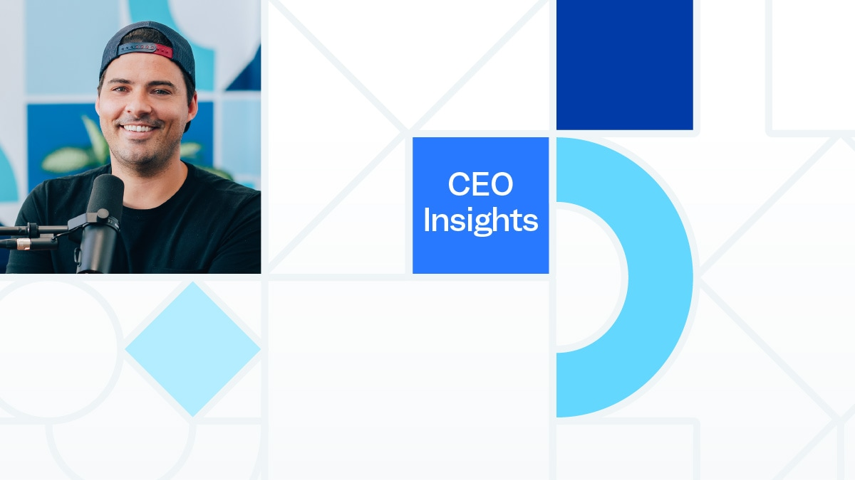 """A grid of shapes, a portrait photo of Justin Wheeler, and the words """"CEO Insights""""."""