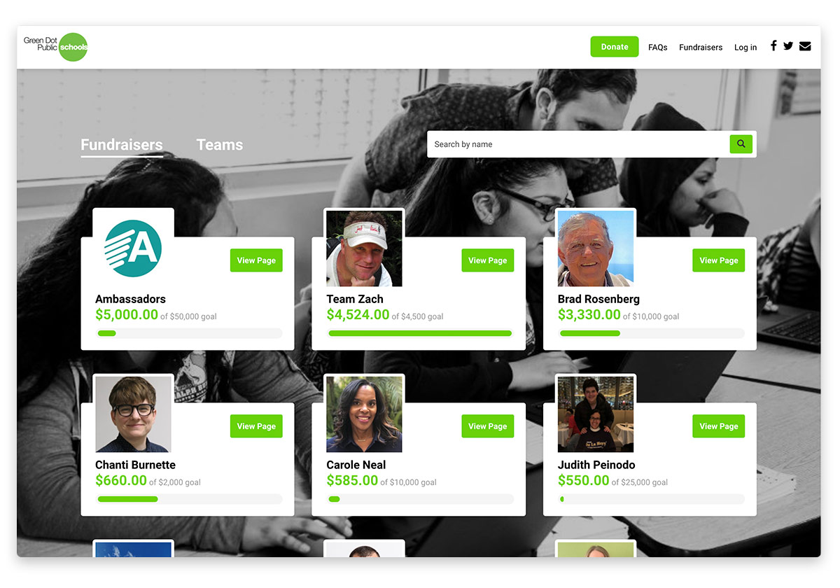 Green Dot Public Schools peer-to-peer fundraising site, created with Funraise.