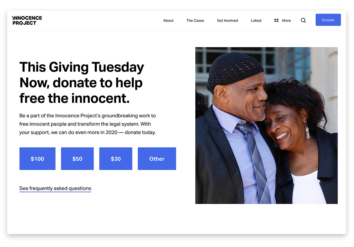 Innocence Project's donation page for Giving Tuesday Now 2020.