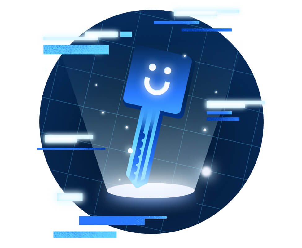 A key with the Funraise smiley logo is illuminated while floating around abstract, confidential data.
