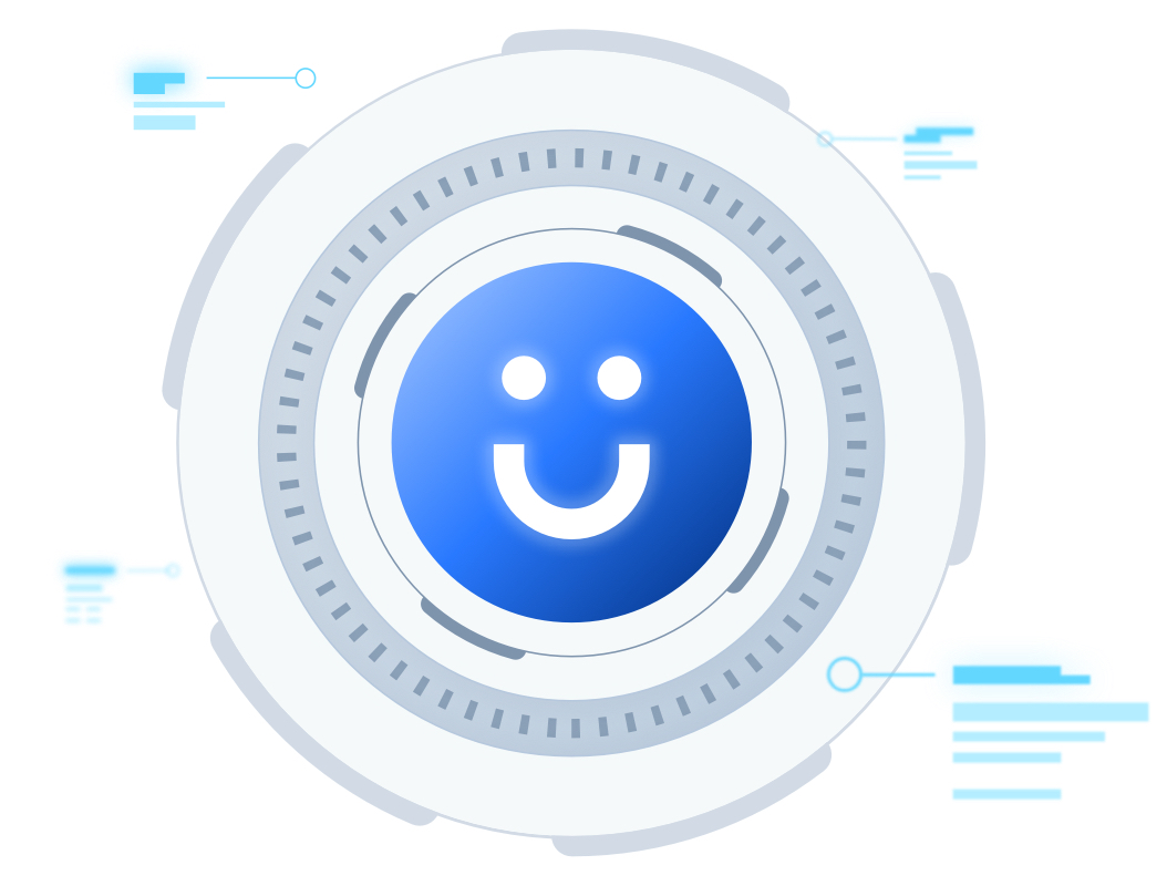 The Funraise smiley is surrounded by gray metal rings, like a secure combination lock. Data notes appear to float around, calling out added security features.