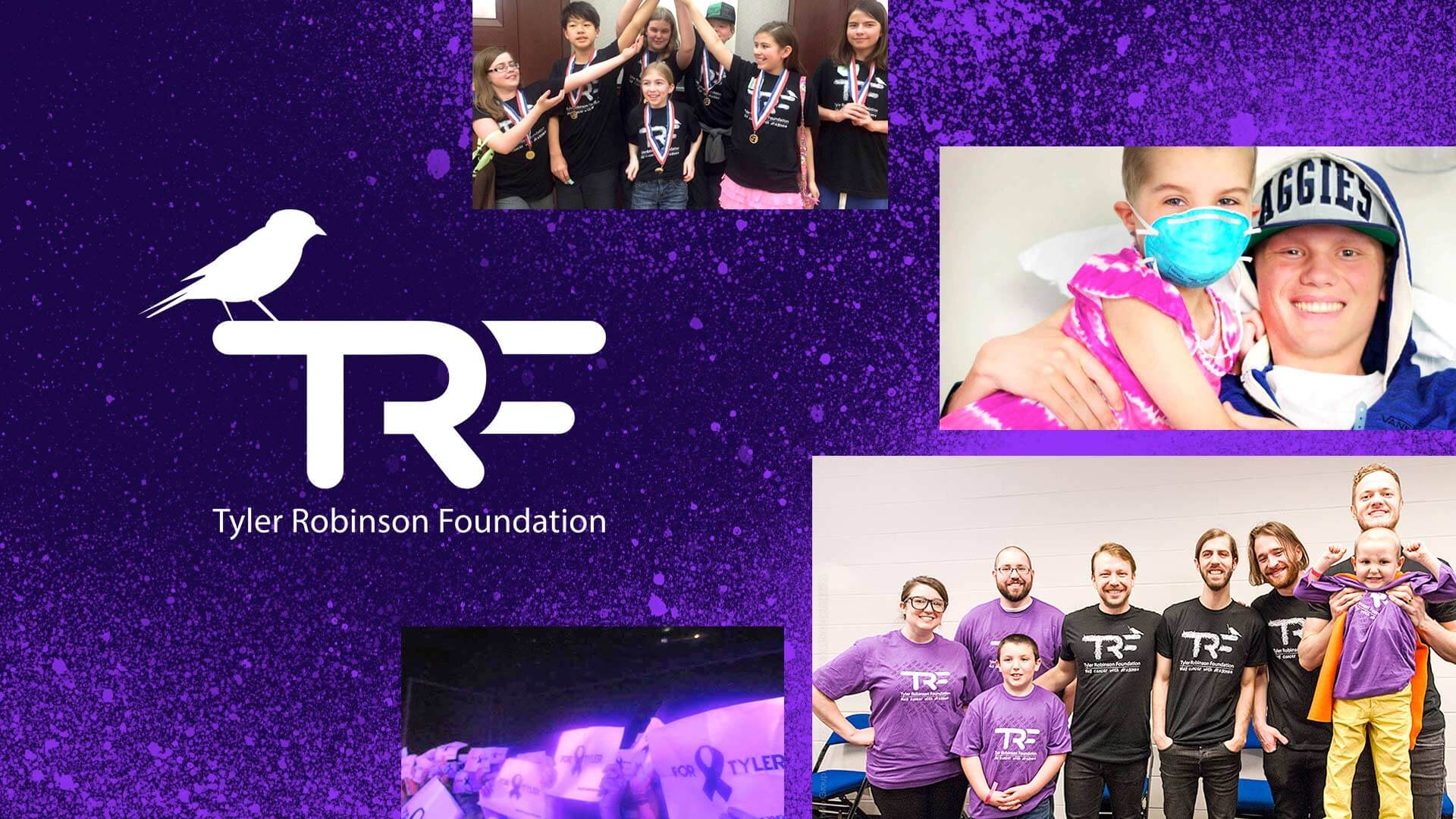 Tyler Robinson Foundation logo next to images of supporters at fundraising events.