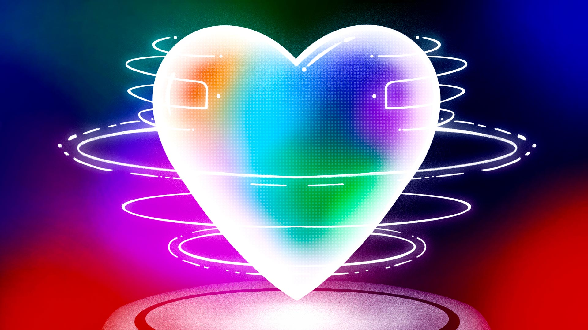 A neon-bright robot heart spins hypnotically in the middle of a darkly-colorful background.