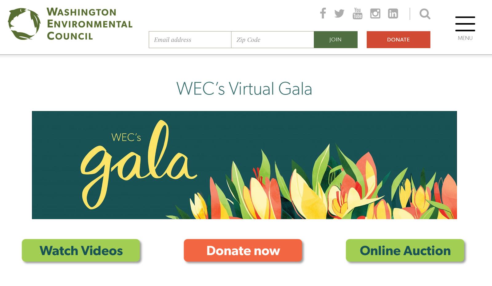 Washington Environmental Council Virtual Gala landing page