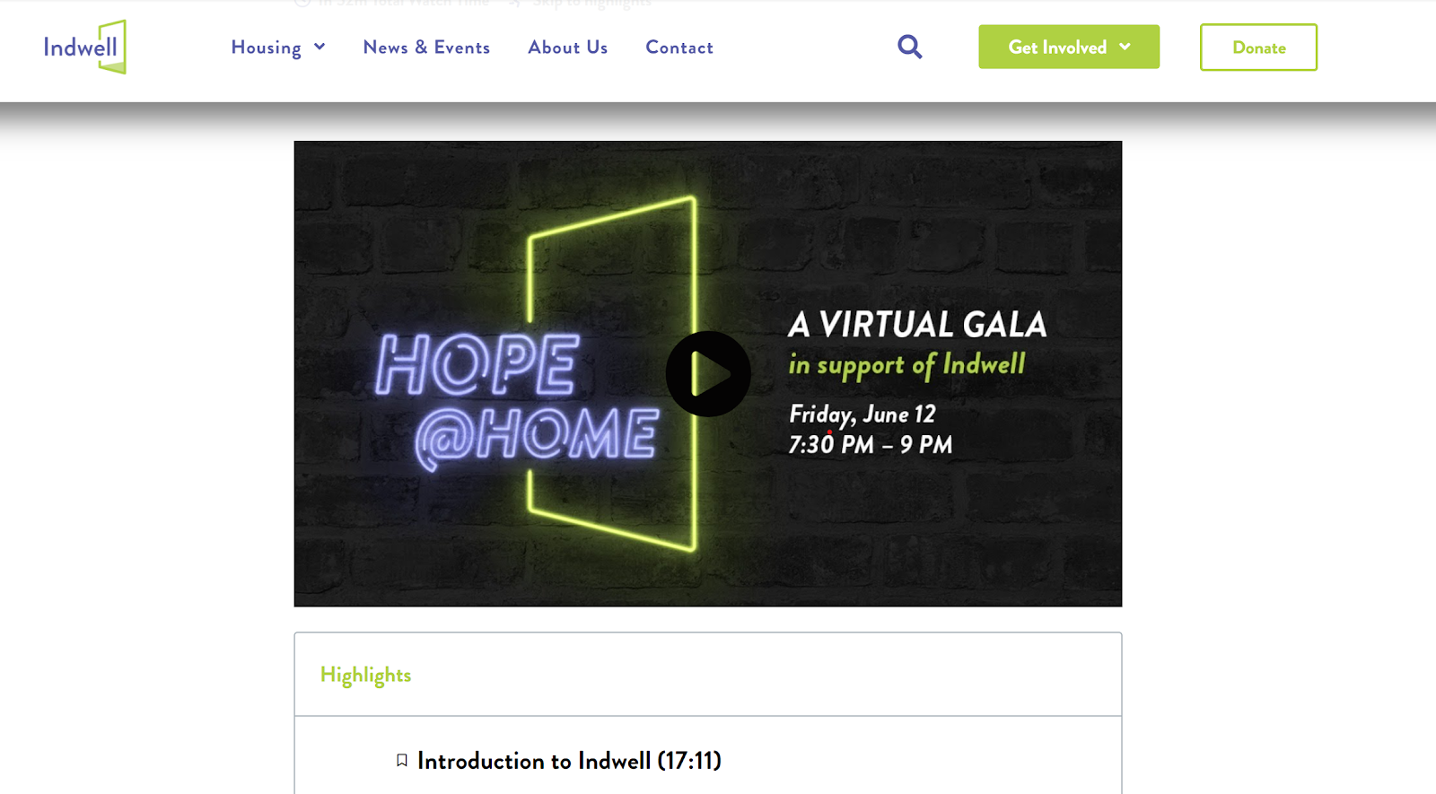 Indwell Virtual Gala landing page