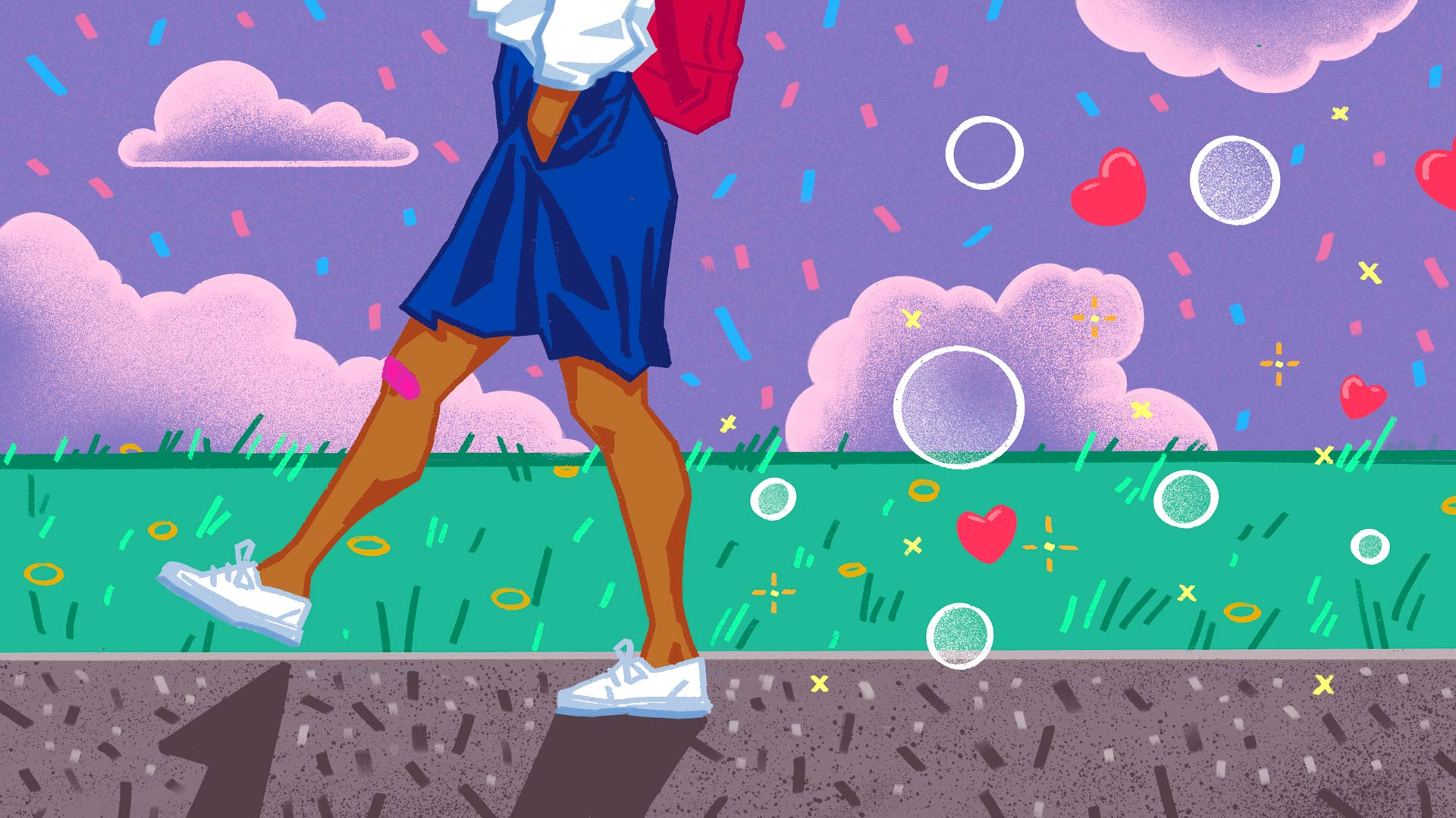 Illustration of a person in profile from the waist down. The person has their hands in the pockets of their blue skirt and seems to be walking casually, swinging their legs. In the background is a field of green grass and a purple sky with pink clouds. Trailing behind the walker is a cloud of bubbles and red hearts.