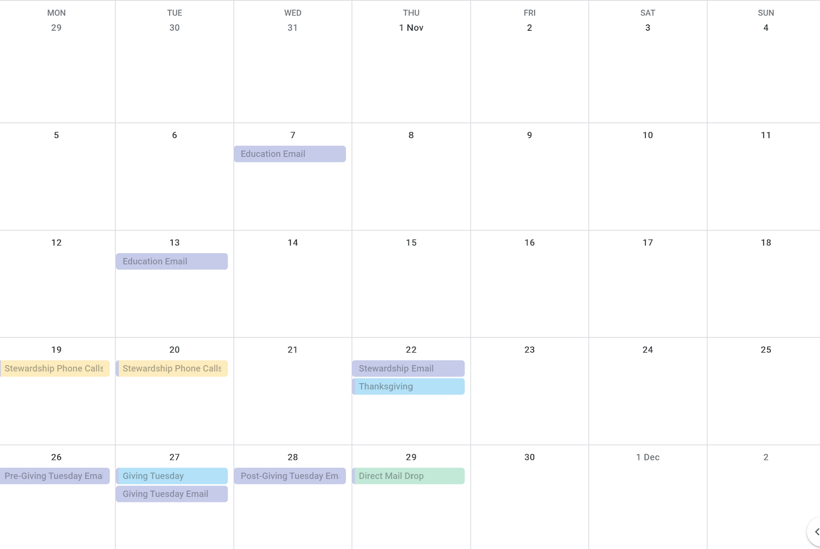 Image of a calendar with fundraising activities planned.