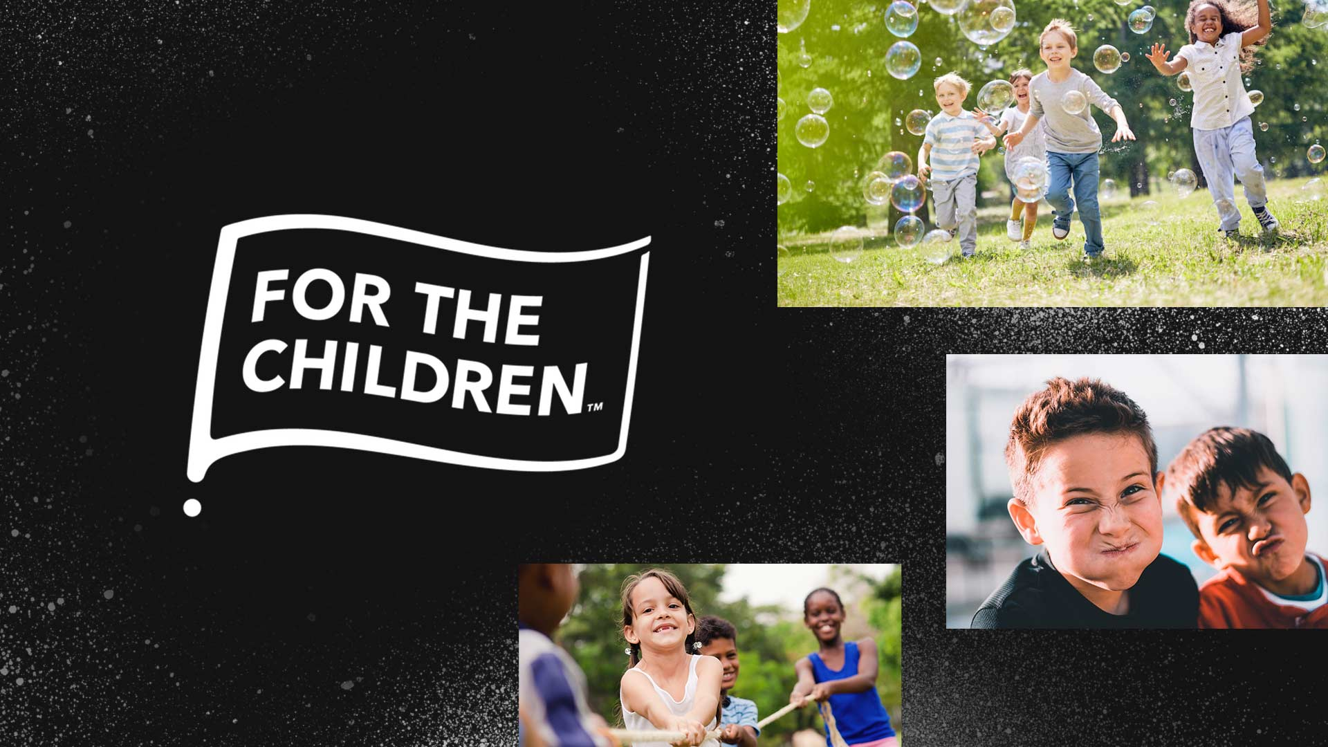 The For The Children logo next to images of joyful kids.
