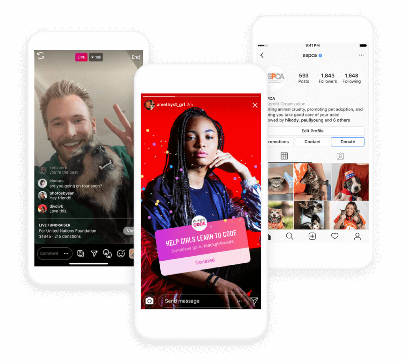 Three phones show the most common native Instagram donation features for nonprofits