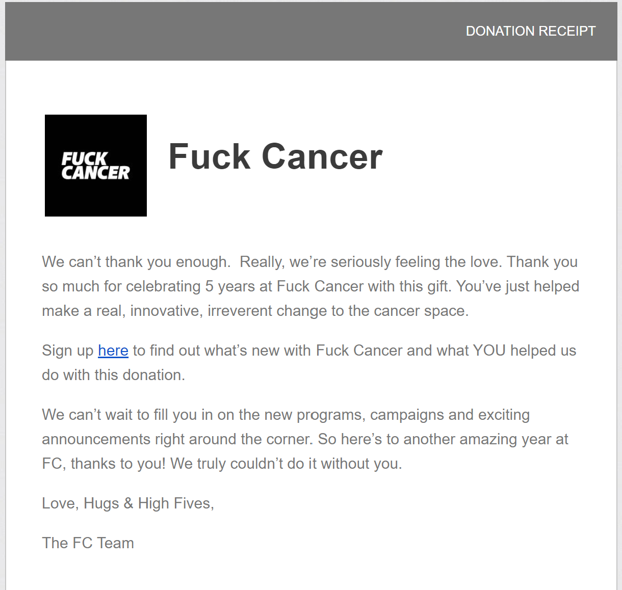 screenshot of a donation confirmation email from Fuck Cancer