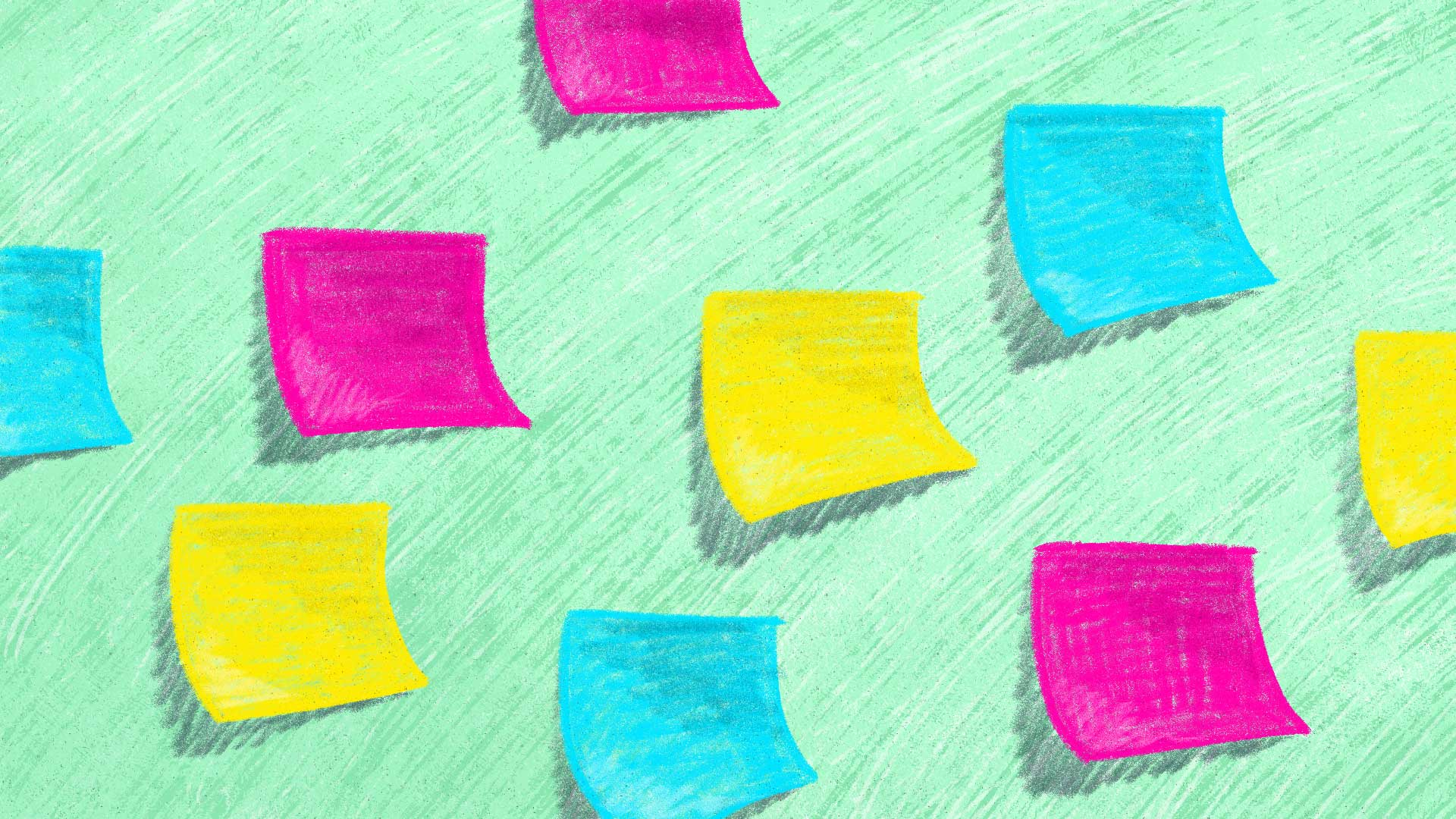 Colorful post-it notes are stuck to a whiteboard, like lots of planning is in progress.