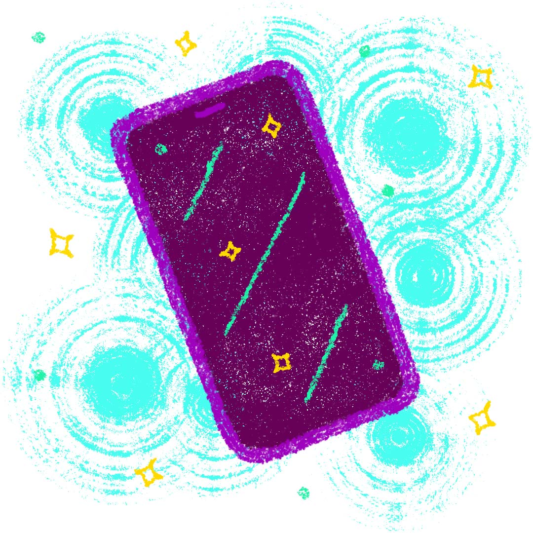 A smartphone surrounded by sparkles and abstract texture.