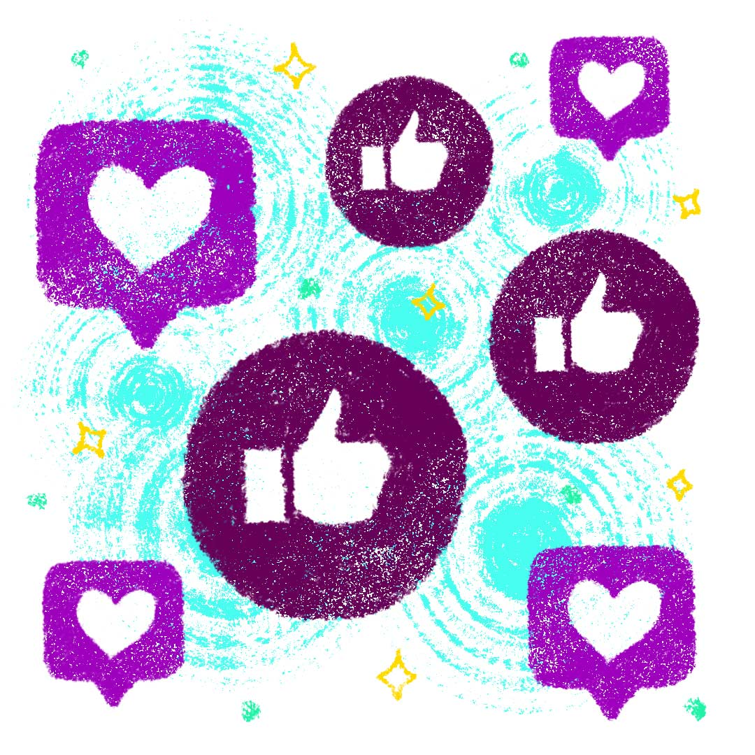 Thumbs up and heart icons depicting positive social media engagement.